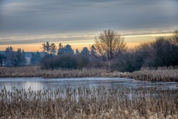 Beautiful winter rural landscape with frozen small pond. Sunrise in Czech beautiful highland vysocina european countryside