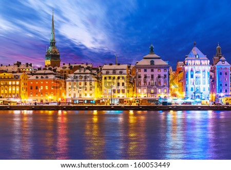 Beautiful winter scenery panorama of the Old Town (Gamla Stan) pier architecture in Christmas and New Year holidays in Stockholm, Sweden
