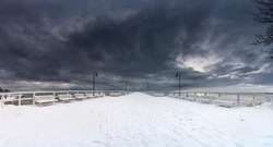 Beautiful winter sea landscape panorama with pier, Baltic See