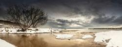 Beautiful winter sea landscape without people,  panorama, Baltic