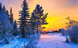 Beautiful winter snow nature landscape at sunset