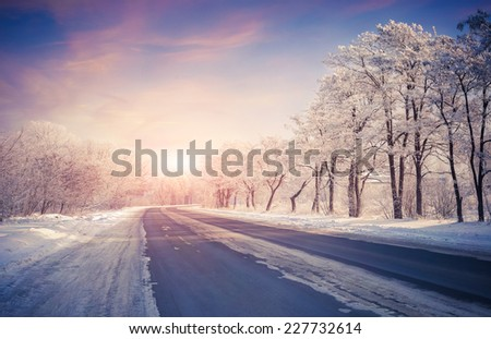 Stock Photo Beautiful winter sunrise on the highway