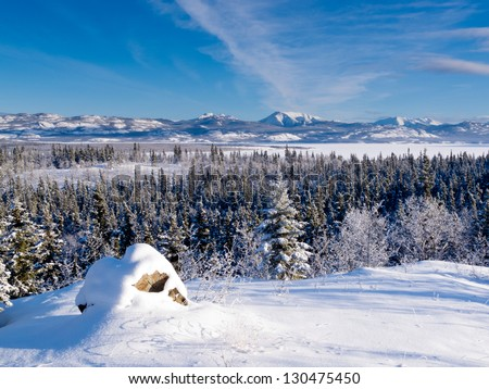 Beautiful winter wilderness landscape of frozen Lake Laberge  Yukon Territory  Canada