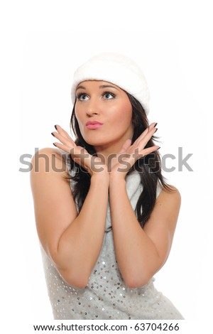Beautiful winter woman in hat dreaming.isolated  white background