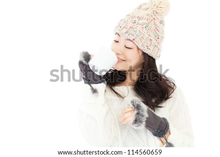 Beautiful winter woman on white background. Portrait of asian.