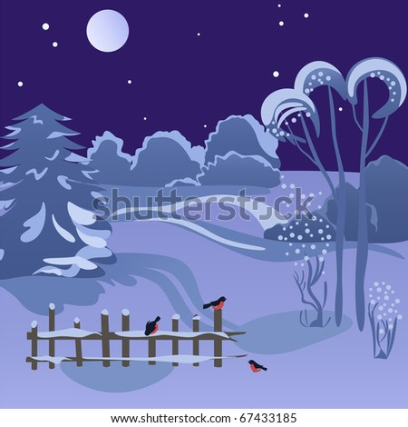 Beautiful wintry landscape with night sky, snow-covered nature and nice birds on the fence