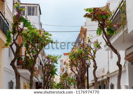 Beautiful with colorful spain city architecture. Modern architecture building background. Mediterranean spain. Beautiful building. #1176974770