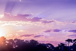 Beautiful with purple rose sunrise cloud on light background. Outdoor landscape. Blue background.