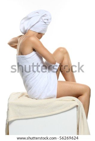 beautiful woman after bath - spa. Without the person, nice skin and body