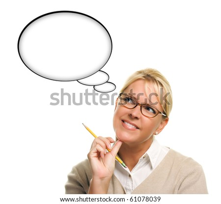 Beautiful Woman and Blank Thought Bubbles with Clipping Path Isolated on a White Background - Ready for Your Own Words or Picture. - stock photo