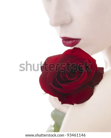 beautiful woman and rose,  isolated on white
