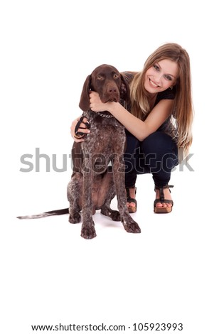 Beautiful woman and young dog - isolated over white