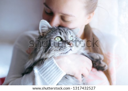 Beautiful woman at home holding and hug her lovely fluffy cat. Gray tabby cute kitten with green eyes. Pets, friendship, trust, love, lifestyle concept. Friend of human. Animal lover. Close up.