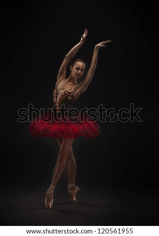 beautiful woman ballet dancer isolated on dark background