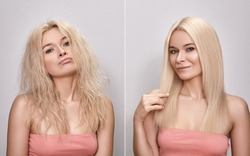 Beautiful woman before and after Hairstyle. Funny portrait with pout face and happy face. Keratin treatment for gloss straight hair