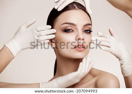Beautiful  Woman before Plastic Surgery Operation Cosmetology. Beauty Face Foto d'archivio ©