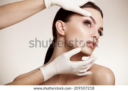 Beautiful Woman before Plastic Surgery Operation Cosmetology. Beauty Face Stock foto ©