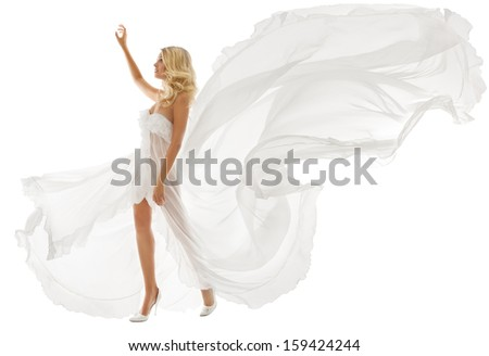 Beautiful woman blonde in white dress with flying fabric over white background