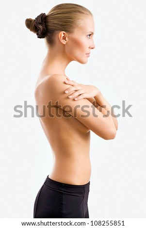 Beautiful woman body on gray background