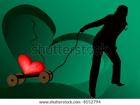 beautiful woman brings broken heart illustration