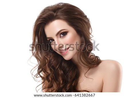 Beautiful Woman Brunette Red Lips Healthy Beauty Skin Smile. Spa Beautiful Model Girl Cute Face over white background. #641382667