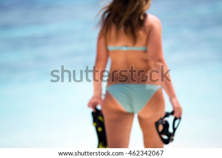 beautiful woman buttock on tropical beach. concept about vacation, beauty,fitness and people