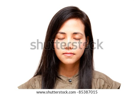 beautiful woman close eyes for thinking