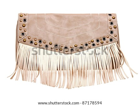 Beautiful woman clutch bag on white background