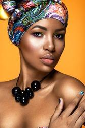 Beautiful woman colorful portrait.