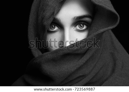 9d7d7f8eda8 Portrait of a beautiful mysterious girl in the hood closeup Images ...