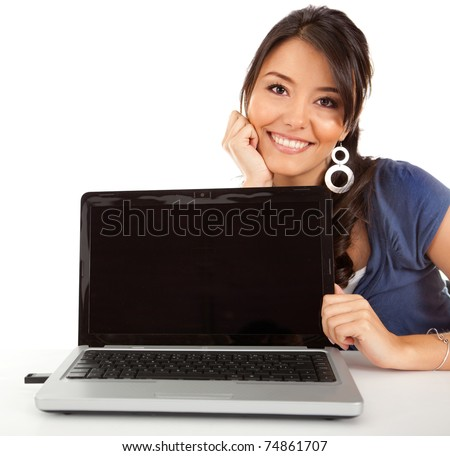 Beautiful woman displaying the screen of a laptop computer ? isolated