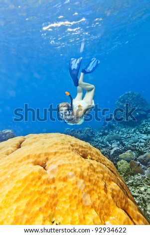 Beautiful woman diver swimming among the coral reef