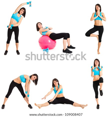 Beautiful woman doing fitness exercises