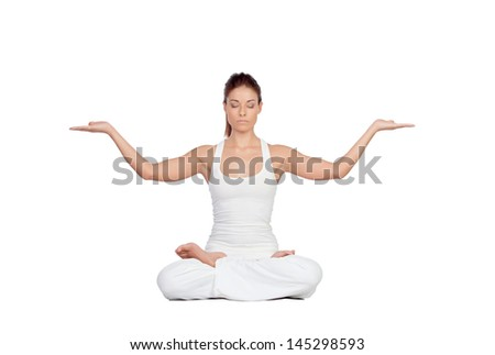 Beautiful woman doing yoga isolated on white background