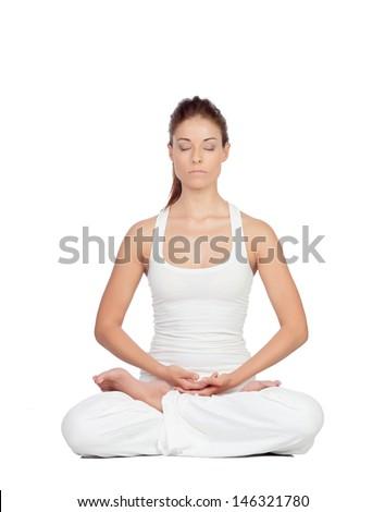 Beautiful woman doing yoga isolated on white background