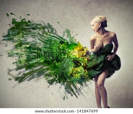 beautiful woman dressed in elegant green dress
