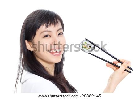 beautiful woman eating sushi with chopsticks, isolated on white background