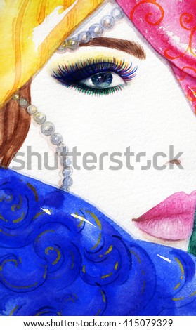 Beautiful woman face. Abstract fashion watercolor illustration - Shutterstock ID 415079329