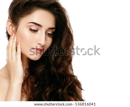 Beautiful woman face brunette portrait cosmetic beauty healthy concept