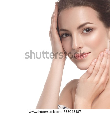Beautiful woman face close up studio on white  #333043187