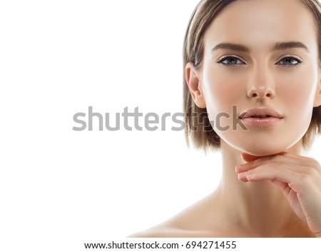 beautiful woman face close up...