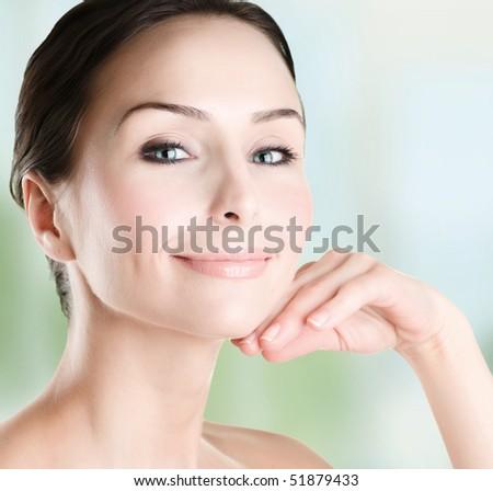 Beautiful Woman Face closeup - stock photo
