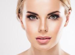 Beautiful Woman Face Closeup Eye woman Eyebrow Eyes Lashes Beauty Portrait Model Girl.