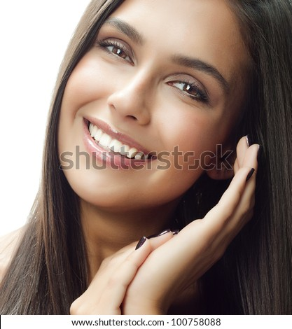 beautiful woman face closeup, portrait of attractive  caucasian smiling young girl, isolated on white studio shot . perfect skin, toothy smile, teeth, eyes, long hear, brunette, hands, close up