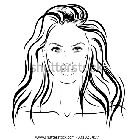 beautiful woman face hand drawn illustration on white background