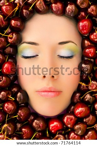 stock photo : Beautiful woman face in a sweet cherry. Save to a lightbox ▼
