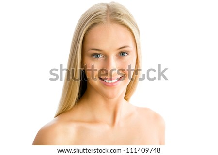 Beautiful woman face - isolated on white
