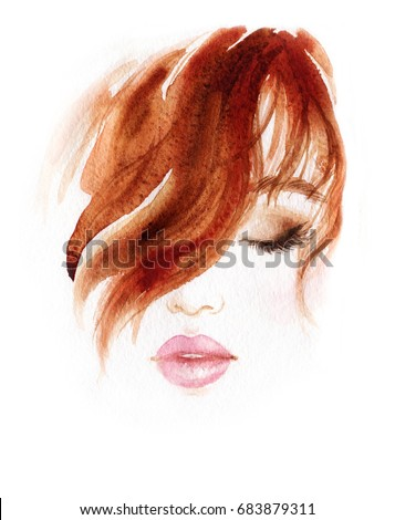 Beautiful woman face. Makeup and hairstyle. Fashion illustration.