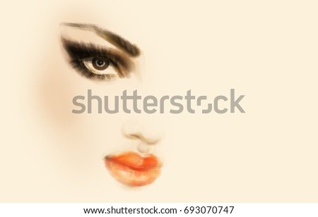 Beautiful woman face. Makeup. Fashion illustration.