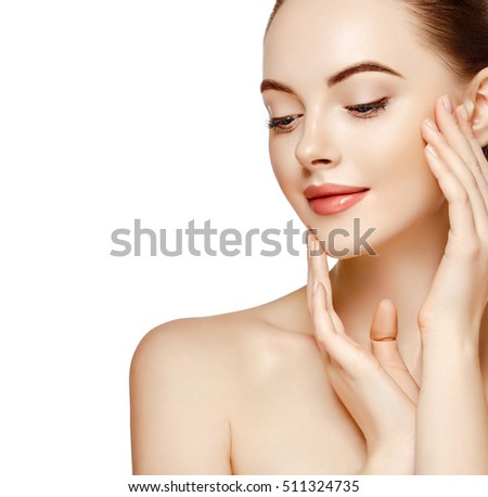 Beautiful Woman Face Portrait Beauty Skin Care Concept Beautiful beauty young female model girl touching her face skin cheeks hands fingers. Fashion Beauty Model isolated on white #511324735